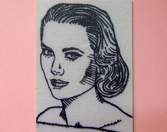 Grace Kelly postcard - Old Hollywood hand embroidery art card