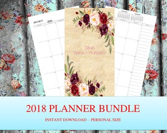 2018 Planner bundle personal Yearly Planner Printable 2018 Monthly Planner 2018 Weekly Planner 2018 Agenda Printable Planner 2018 calendar