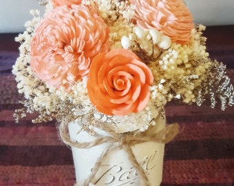 Coral Wedding Table Centerpiece, Centerpiece Flowers, Wedding Reception, Aisle Flowers, Wedding Decor, Sola Flowers, Rustic Shabby Chic