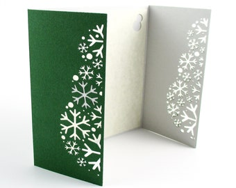 Handmade snowman Christmas card | handmade card | green Christmas card | holiday card | snowflake snowman | custom Christmas card | X003