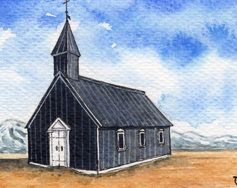 ACEO Original Watercolor Painting-Budir Church in Iceland