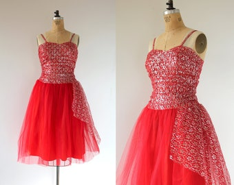 vintage 1950s dress / 50s red party dress / 50s lace  party dress / 50s cocktail dress / 50s holiday dress / 50s prom dress / small
