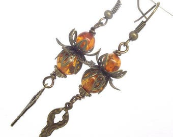Steampunk Earrings Mechanical Floral Amber and Clock Hands Steam Gears Goth
