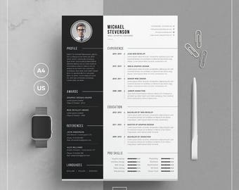 Cv template etsy modern resume templatecv template cover letter word resume resume cv with yelopaper Choice Image