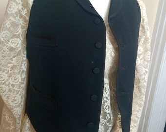 1880's Wool and Cotton Vest with Wool Covered Buttons Old Wild West