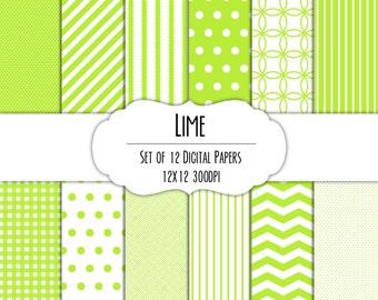 Lime Green Digital Scrapbook Paper 12x12 Pack - Set of 12 - Polka Dots, Chevron, Gingham - Instant Download - Item# 8100