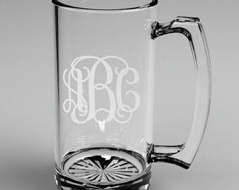 8 Personalized Groomsman Vine Monogram Beer Mugs Custom Engraved