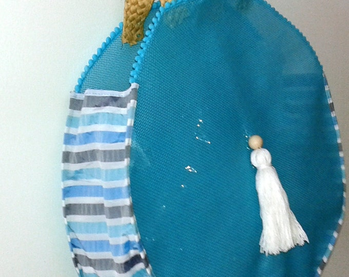 hand bag in turquoise blue pvc fabric round bag, beach, shopping, leisure, large bag, tassels, trend,