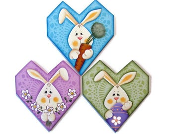 Bunny with Easter Egg, Carrot, or Flowers  Fridge Magnet, Ornament, or Wall Art, Handpainted Wood, Hand Painted Refrigerator Magnet, Tole