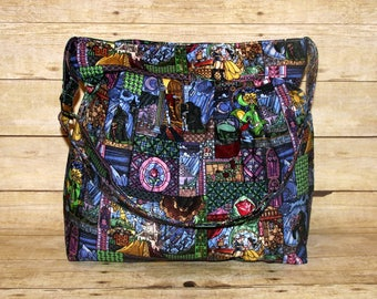 Fairy Tale Stained Glass Extra Large Pleated Diaper Bag, Extra Large Diaper Bag, Cloth Diaper Bag, Extra Large Handbag, Crossbody Bag