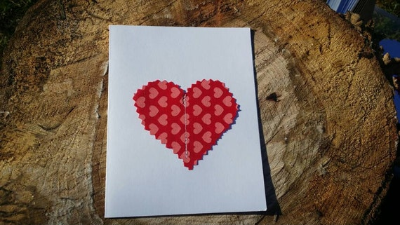 Customizable Handmade Heart Card/Fabric Scrap Heart Card/Handmade Holiday Card/Handmade Greeting Card/Blank Heart Card/ Valentines Day Card