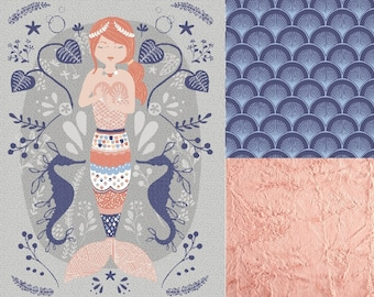 Boho Calypso Mermaid Nursery Bedding Set, Gray | Blanket  | Crib Sheet | Changing Pad Cover