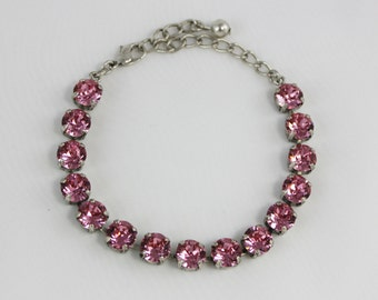 Light Rose Pink 8mm Swarovski Crystal Bracelet