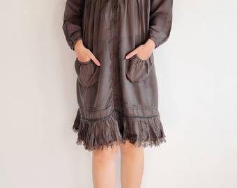 Knee length dress fringe hem...Mix silk Black (M-L)(192)