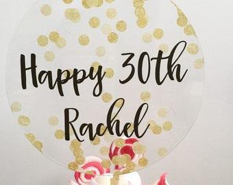 Gold Confetti cake topper - Personalised acrylic celebration custom Name Cake Topper cake decoration  30 thirty 40 forty Birthday