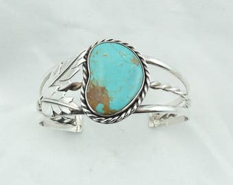 Simple Green Turquoise Southwest Native American Sterling Silver Cuff Bracelet   #GREEN-CF6