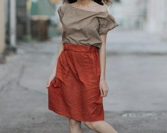 Vintage, checkered top, blood orange skirt