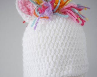 Crochet baby hat, Unicorn hat, Newborn photo prop, newborn/baby hat,  baby girl, newborn prop