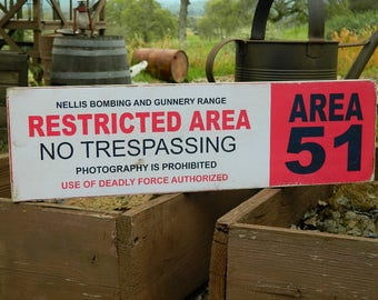 """Distressed Primitive Country Wood Sign - The Area 51 Halloween sign  5.5"""" x 19"""""""