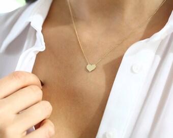 14k Gold Heart Necklace/ Heart Necklace/ Gold Necklaces/ Love Necklace/ Minimalist Heart Necklace/ Dainty heart Necklace/ Graduation Gfit