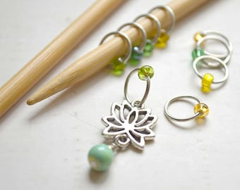 SALE!! Knitting Stitch Markers - Lotus Flower - Snag Free - Made to order in your choice of 4 sizes