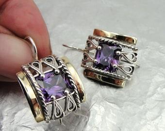 925 Amethyst Earrings, Handcrafted 9k yellow gold & 925 sterling Silver Earrings, Purple stone earrings, Filigree Earrings, Gift (s e1609