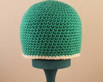 Teal and white simple hat 12-24 months