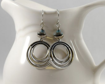 Silver Hoop Earrings, Silver Earrings, Everyday Earrings, Silver and Turquoise Earrings, Antique Silver Earrings, Metal Earrings, AE210
