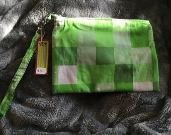 Minecraft green & Black handbag coin purse bag clutch wristlet OOAK Gmajanisew