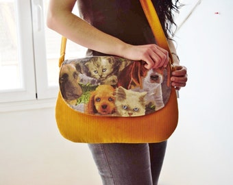 Dogs bag,cats bag,yellow bag,corduroy bag,animals handbag,animals tote,dogs clutch,cars fabric bag,kawaii bag,canvas clutch,quilted bag