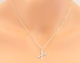Crossed Arrows Necklace, Arrow Necklace, Sterling Silver, Arrow Jewelry, Boho Jewelry, For Her, Friendship Necklace, BeadXS, Gift Idea