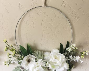 White Peony Floral Wreath