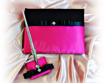 Wedding Guest Book Fuchsia Pink and Black wedding accessories, reception guest book, paper goods