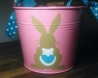 Personalized Easter Pail with Khaki Bunny and monogram. Perfect for your little ones first Easter Egg Hunt, or gits from the Easter Bunny!