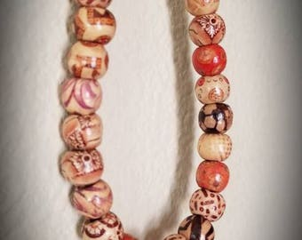 Handmade, one of a kind necklace- featuring hand painted wooden beads