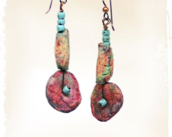 Wabi Sabi Rustic Bohemian Earrings for Women Polymer Clay Art Jewelry Urban Ethnic Gift for Her Hippie Gypsy Boho Tribal