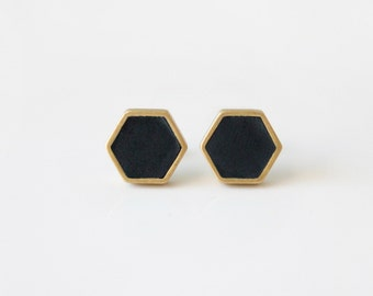 Black hexagon stud earring