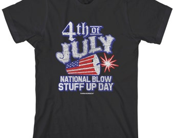 4th Of July National Blow Stuff Up Day Men's T-shirt United States Independence Stars And Stripes Fireworks US Pride  - TA_00152