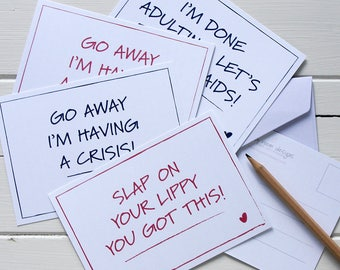 7. Postcard set - four inspirational/funny quote postcards with envelopes