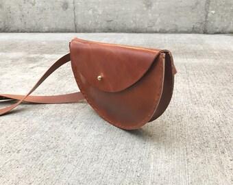 Cognac Half Moon Leather Waistbag Extended