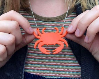 """Crab Laser Cut Acrylic Necklace 20"""" Silver Chain"""