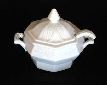 Fire Sale!  White Porcelain TUREEN w Matching Ladle by CALIF USA / Wheat Pattern from 1960's- 70's / Shabby Chic Home Decor / Great Gift