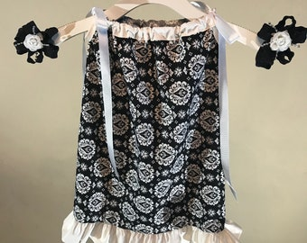 Girls Black and White Pillowcase dress- Includes matching hair bows-Size 6 months, 9 months, 12 months, 18 months, 2T and 3T