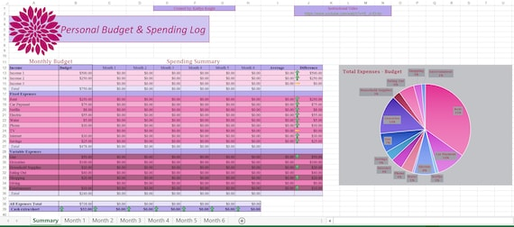 Personal Budget and Spending Log Excel Template Instant