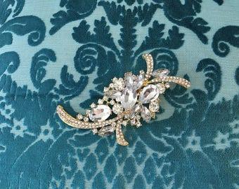 Gold Rhinestone Brooch.Art Deco Brooch.Art Deco Gold Brooch.Art Deco Crystal Brooch.Art Nouveau.wedding dress Brooch Pin.art deco broach.Pin