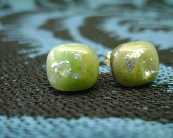 Green Dichroic Fused Glass Earrings