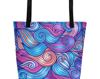 Colorful Waves Beach Bag Swirl Design Blue Purple Women's Teen Girls Beach Cruise Tote Overnight 16x20 Bag Summer Vacation Gift For Her