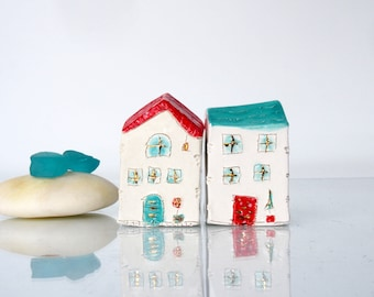 Turqouise and Red  Miniature houses with Golden details-  OOAK Ceramic Houses, Home Decor, Holiday decor, Ceramic village, Clay buildings