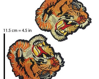 Embroidered Tiger Head Badge Patch Applique, Tiger Badge for Sewing and Fashion