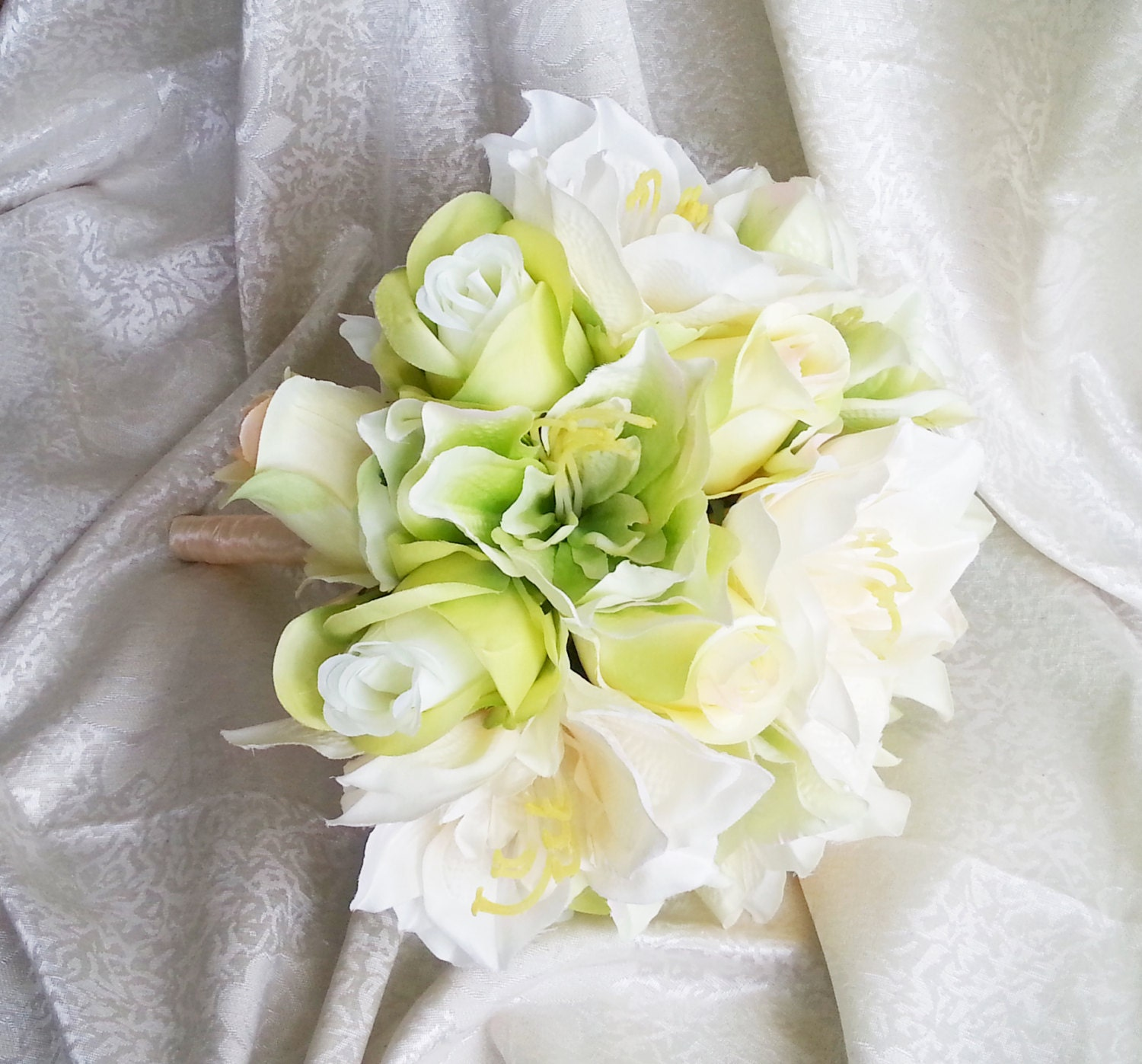 Green silk flowers wedding bouquet greenery lime green cream roses green silk flowers wedding bouquet greenery lime green cream roses lily satin ribbon bridal bridesmaids cheap mightylinksfo Images